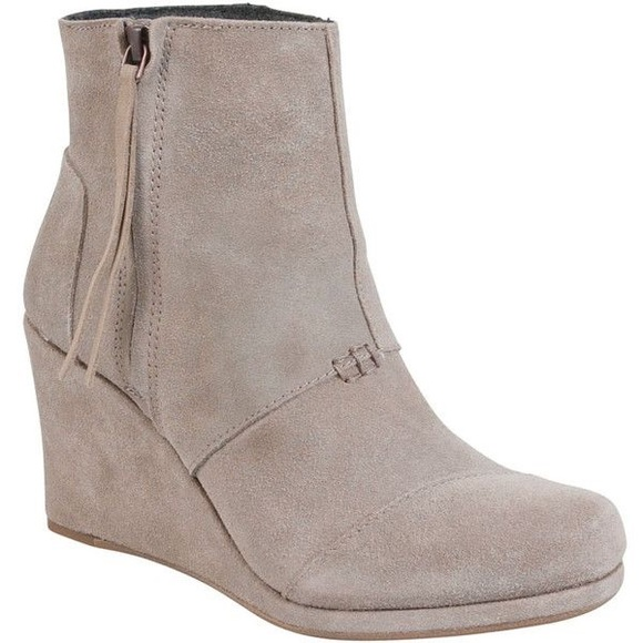 049e38fc6bd TOMS Desert Wedge High Taupe Suede Bootie Size 9.5.  M 5b9051981537956c3b1c7135